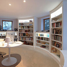 Curved custom made library